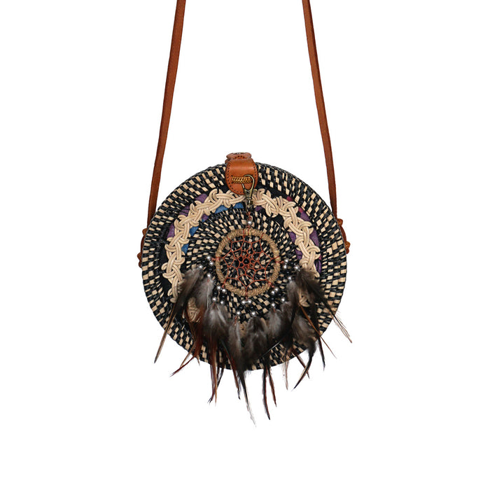 round rattan bag dream catcher festival gypsea bohemian bags style