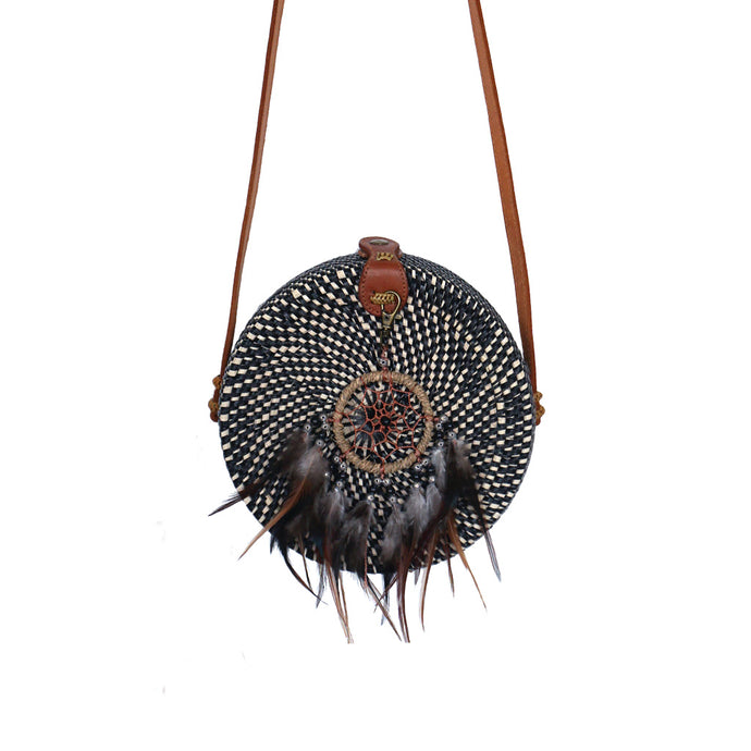 black and natural colour round rattan bag balinese handmade festival bohemian dreamcatcher