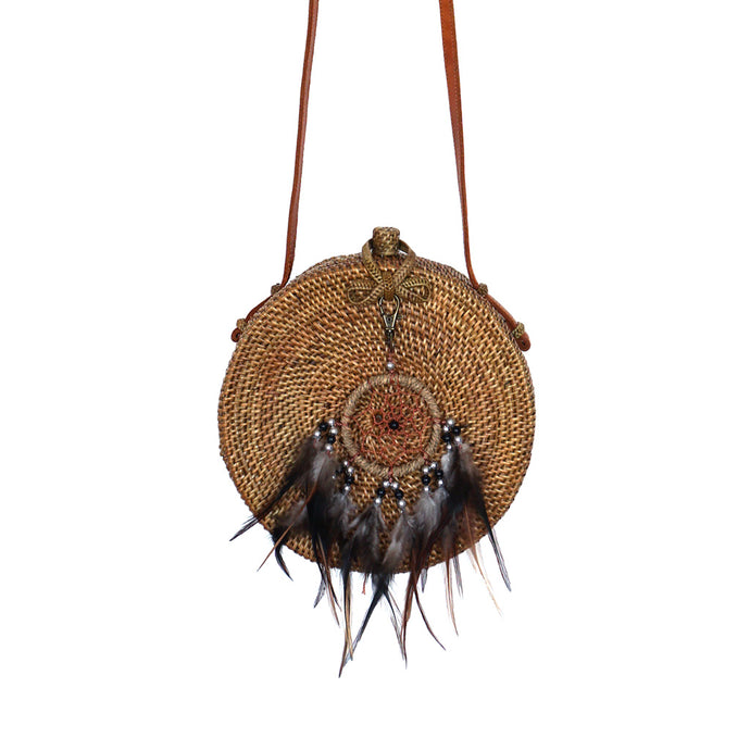 round rattan natural bag dream catcher bohemian bag festival boho