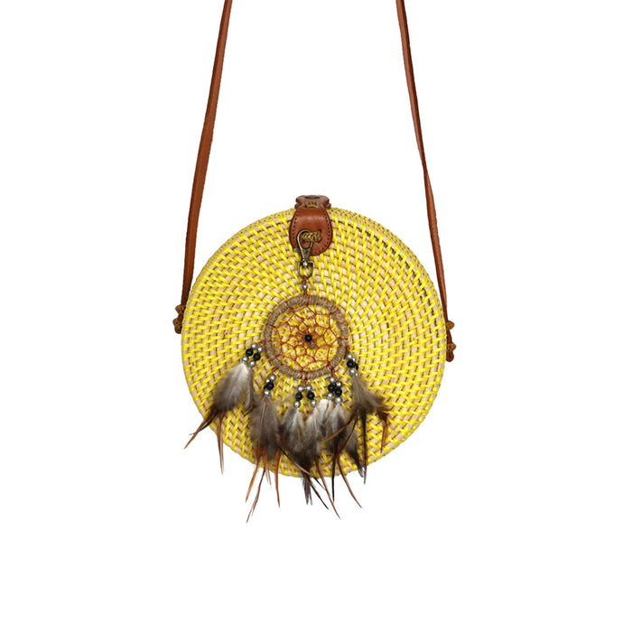 round rattan bag yellow lemon colour festival accessory gypsea dream catcher boho style