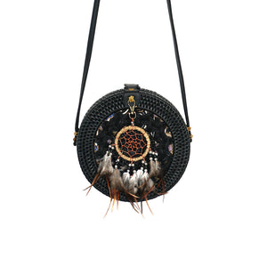 round rattan balinese bag dream catcher festival gypsea bohemian style bags