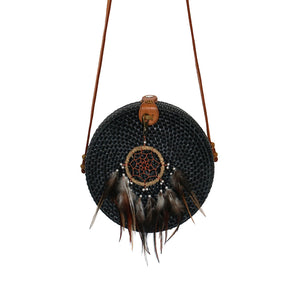 black round rattan bag handmade dream catcher gypsea bohemian style festival bags