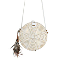 white round rattan circle bag dream catcher handmade festival boho gypsy style