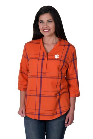 CLEMSON TIGERS PLAID TUNIC