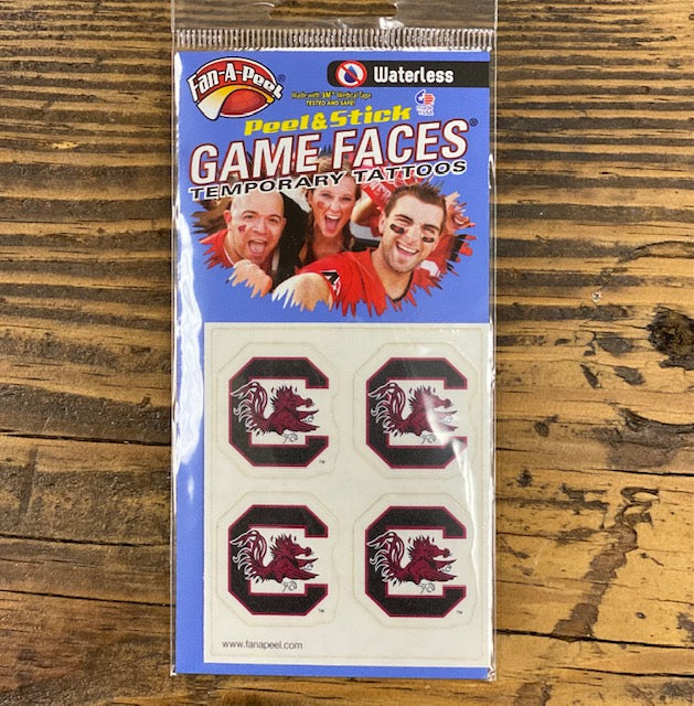 USC Gamecocks Waterless Peel & Stick Temporary Spirit Tattoos