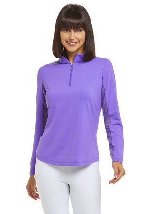 IBKUL Solid 1/4 Zip Mock Neck L/S Pullover (13 color options)