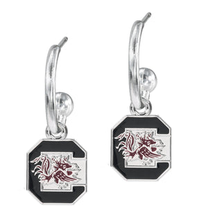 University of South Carolina Block C Dangle Hoop Earring