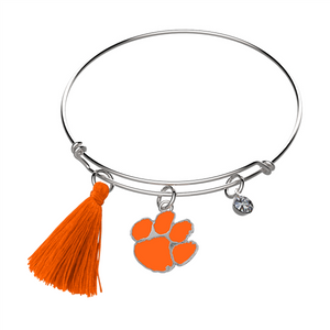 Clemson Tiger Paw & Tassel Bangle Bracelet