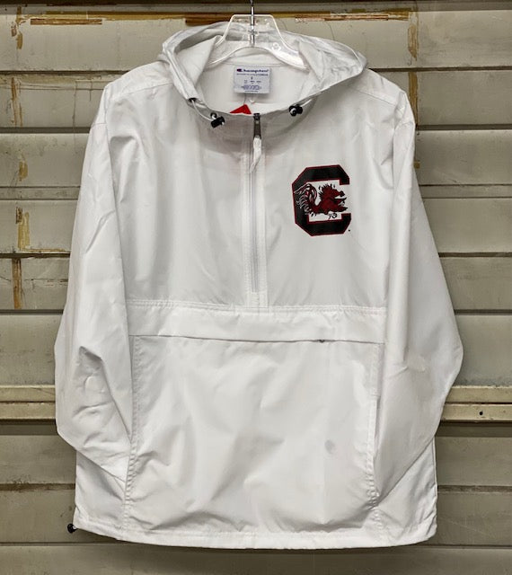 Gamecocks Champion 1/4 Zip Water Resistant Hoodie- White