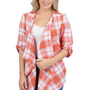 ORANGE AND PURPLE PLAID CARDIGAN