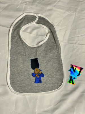 Berry Blues Embroidered Baby Bib