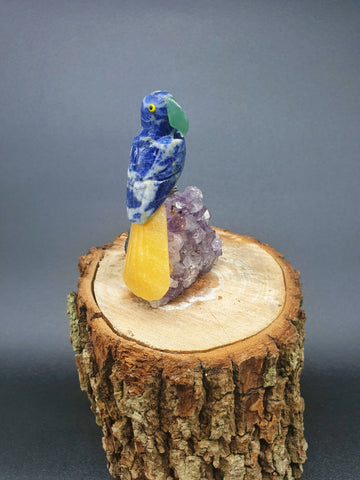 Pequeno Calcite Parrot mounted on Amethyst