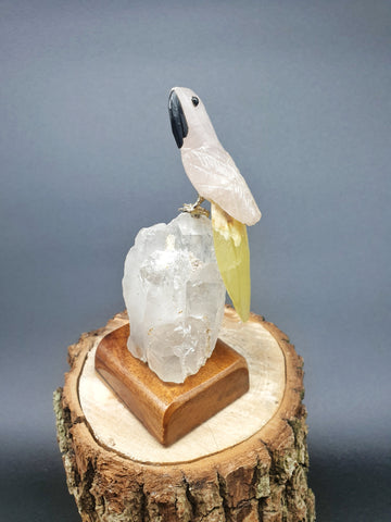 Rose Quartz Macaw mounted on Quartz base