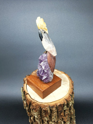 Quartz Cockatoo mounted on Amethyst base