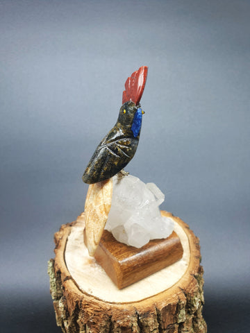 Serpentinite Cockatoo mounted on Quartz base