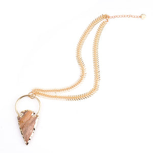 Arrow Collection - Fishbone Agate Necklace Gold