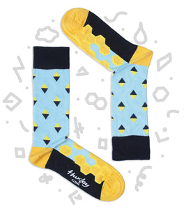 Honeycomb Pattern Blue Bamboo Socks