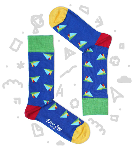 Dark Blue Bamboo Socks with Colourful Paper Planes