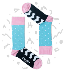 White Polka Dots with Black and White Zig Zag Stripes Bamboo Socks