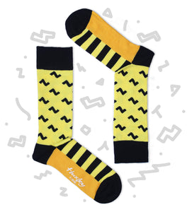 Yellow and Black Zig Zag and Stripes Bamboo Socks
