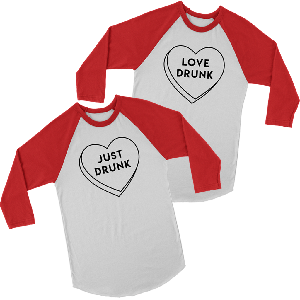 07ebe50d Load image into Gallery viewer, Love Drunk and Just Drunk Matching Couples  Tshirt for Valentines ...