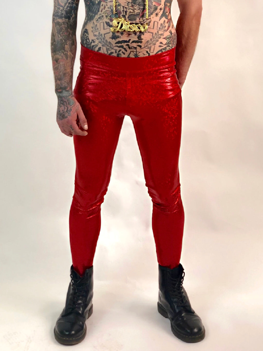Red Holographic Meggings with Pocket
