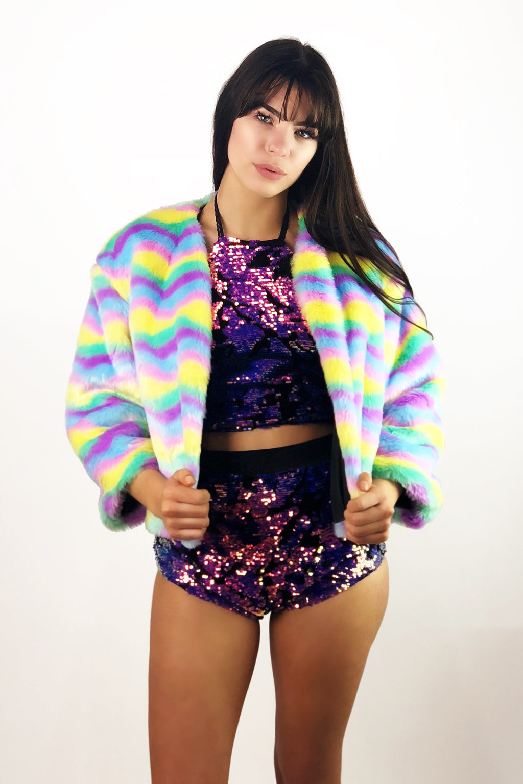Sherbert Delight Faux Fur Coat