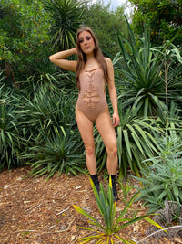 Weaved Collection - Beige Bodysuit - size Small
