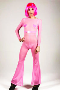 Sheer Jumpsuit - Barbie Pink