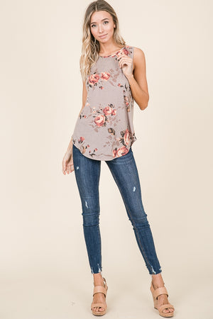Sleeveless Flower Print Top