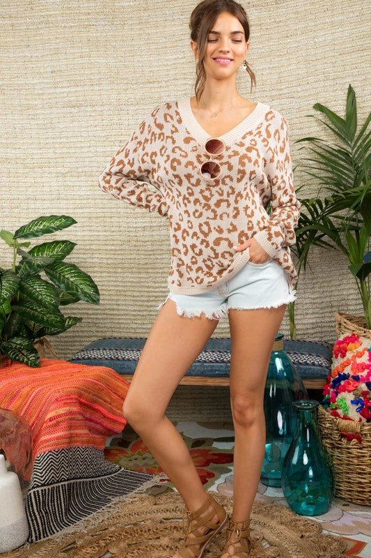 Leopard V-Neck Lightweight Sweater