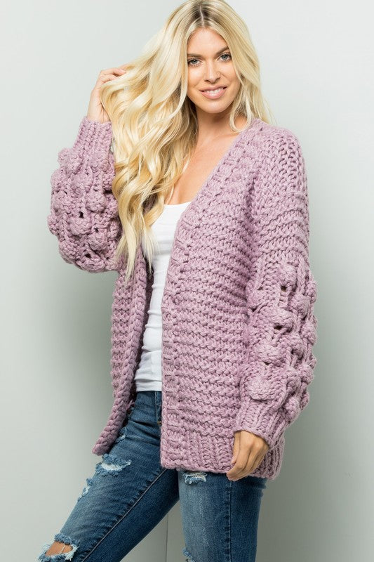 Handmade Ball Puff Sleeve Sweater/Cardigan