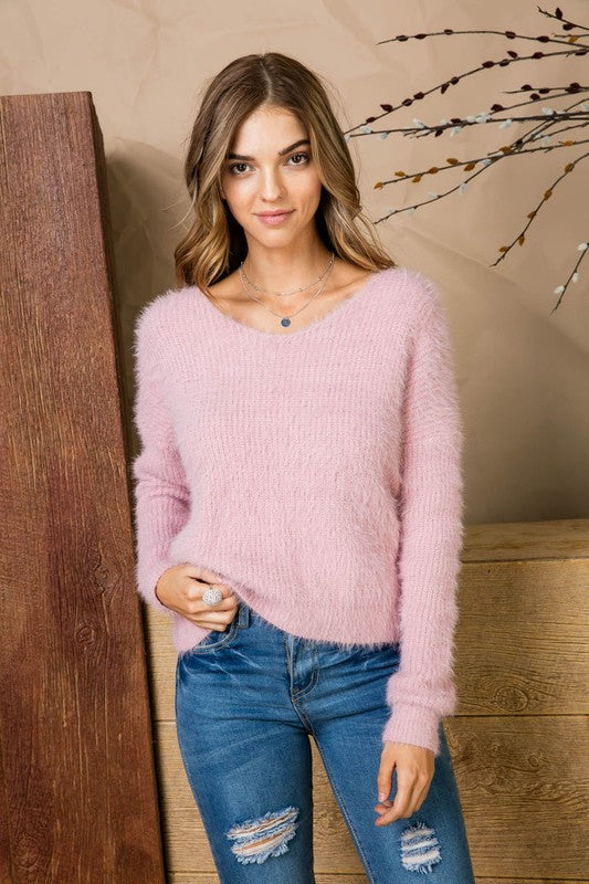 Open Back Twisted Boat Neck Wool Sweater