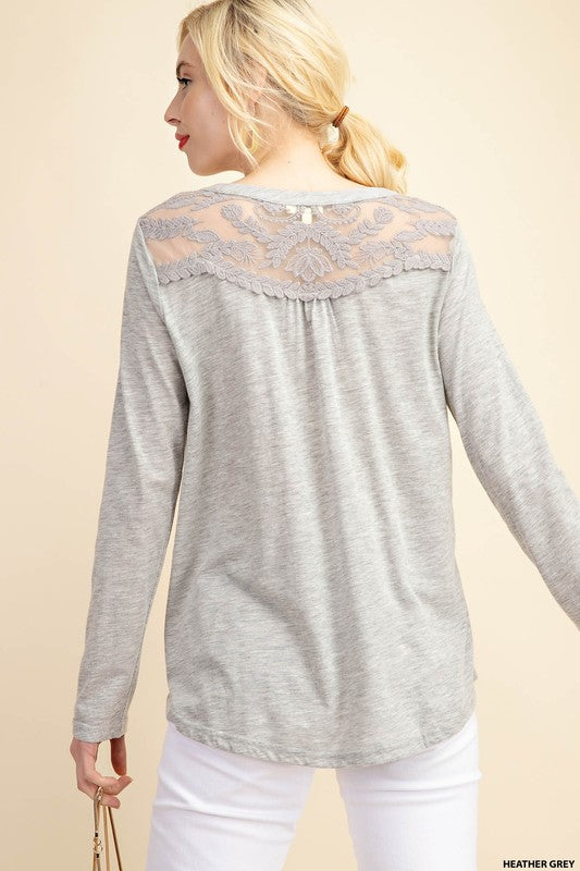 Front & Back Lace Patch 3/4 Sleeve Top
