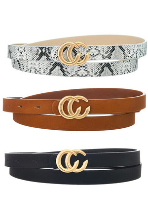 CC buckle Skinny Belts W/White Snake, Brown, and Black - 3 Pack