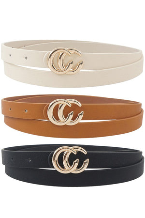 CC buckle Skinny Belts W/Ivory - 3 Pack