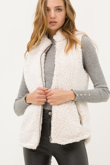Zip-Up Mock Neck Sherpa Faux Fur Vest