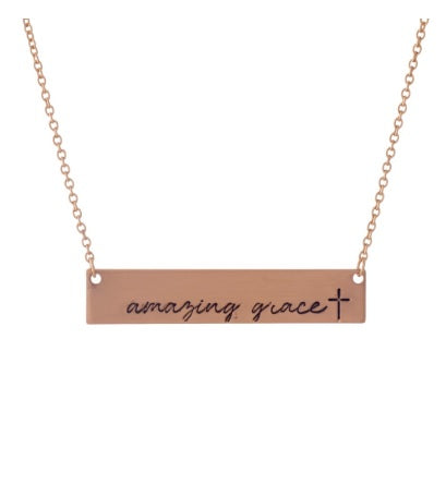 "Rose Gold Bar Pendant ""Amazing Grace"""