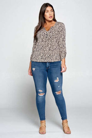 Animal Printed Henley Necked Blouse