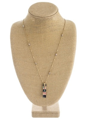 Long Link Bar Chain Necklace with Pendant