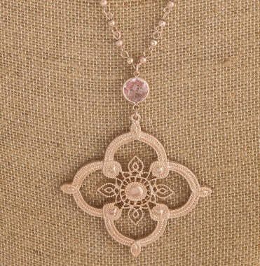 Metal Flower Long Cable/Ball Chain Necklace