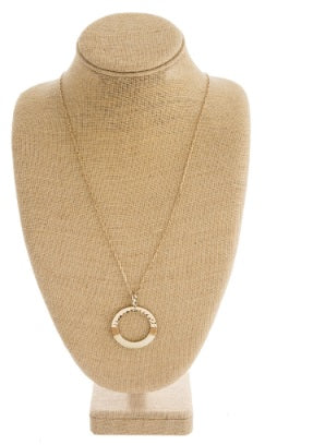 Hammered Metal Thread Open Circle Necklace