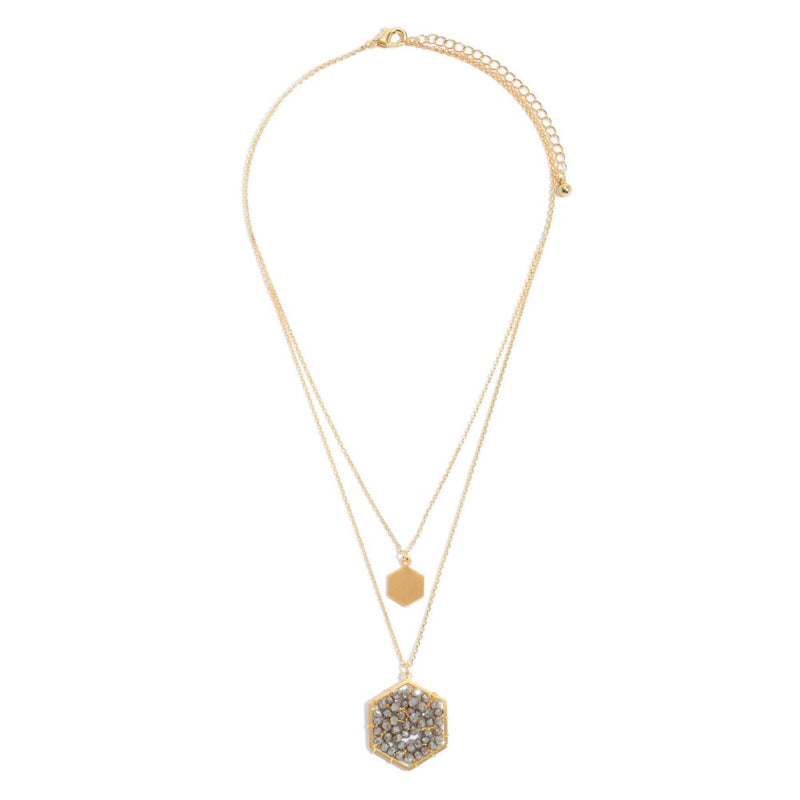 Layered Beaded Honeycomb Pendant Necklace in Gold