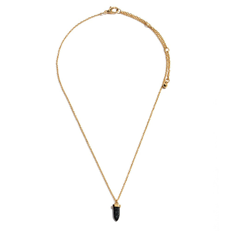 Dainty Semi Precious Stone Horn Necklace in Gold.