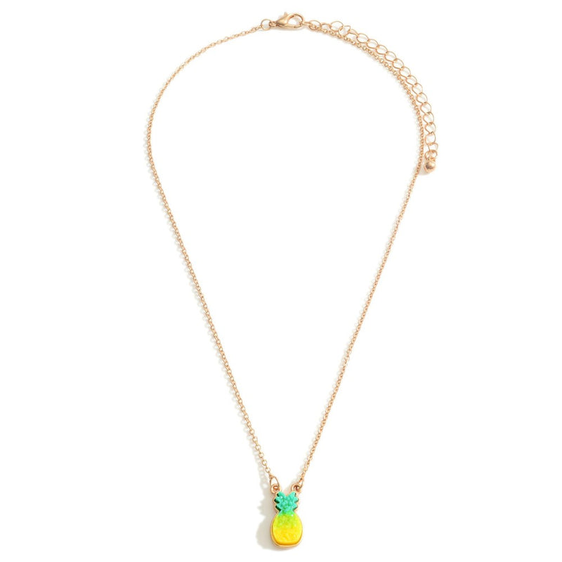 Short Gold Necklace Featuring a Pineapple Pendant