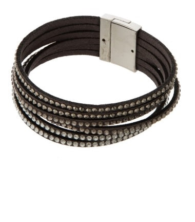 Faux Leather Bracelet with Rhinestone Detail