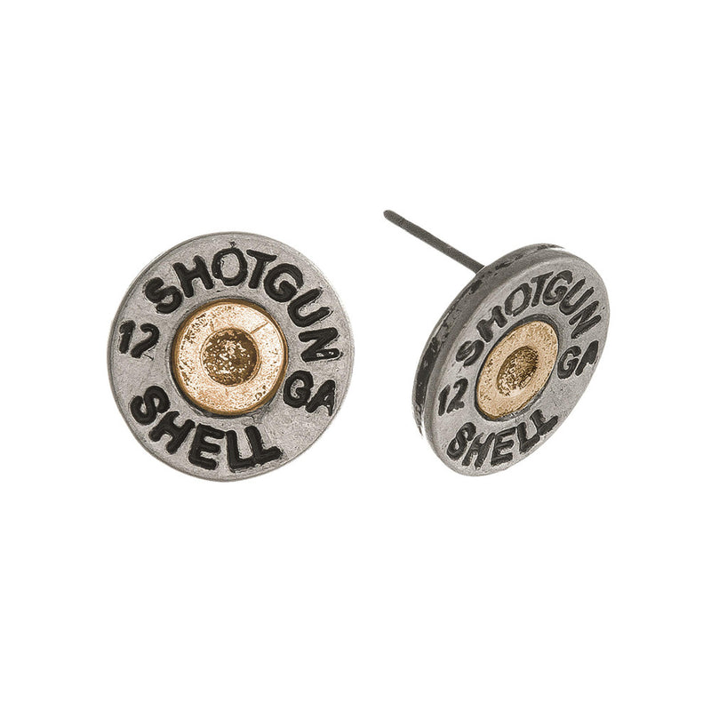 Two Tone Shotgun Shell Stud Earrings.
