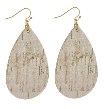 Cork Inspired Teardrop Earrings
