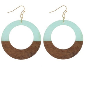 Long Hoop Acetate and Wood Earrings