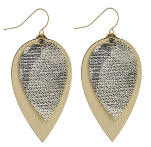 Double Layered Faux Leather Earrings w/Metallic Print
